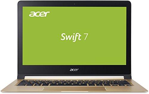 Acer Swift 7 (SF713-51-M319) 33,8 cm (13,3 Zoll Full HD IPS) Laptop (Intel Core i5-7Y54,8 GB LPDDR3 RAM,256 GB SSD, Intel HD Graphics 615,USB 3.1,HD Webcam, Win 10 Home) Midnight Black/Champagne