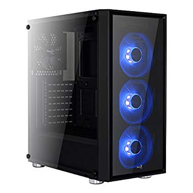 Aerocool EN57349 Advance Midi-Tower PC-Gehäuse (schwarz/blau) (QUARTZ)