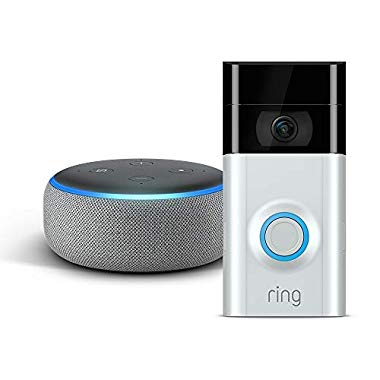 Echo Dot - Hellgrau Stoff plus Ring Video Doorbell 2