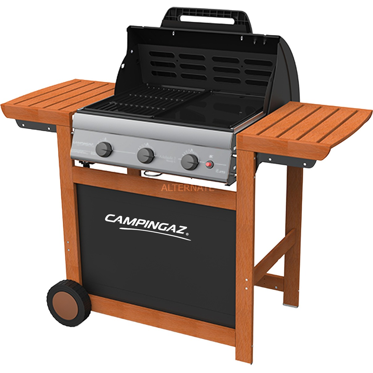 Gasgrill Adelaide 3 Woody L + Campingaz Premium Wender + Campingaz Bluetooth Grill-Thermometer
