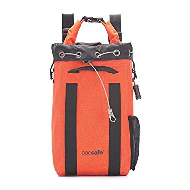 Pacsafe Travelsafe 15L Dry - Mobiler,wasserdichter Safe mit TSA-Zahlen Schloß,Anti-Diebstahl Technologie,15 Liter Volumen,Orange/Orange