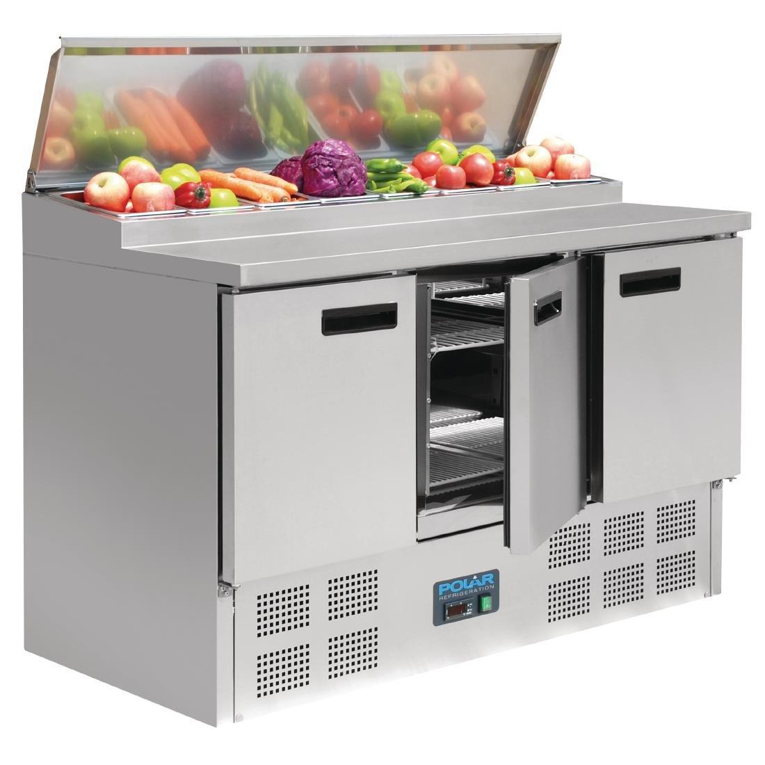 Polar gekühlte Saladette und Pizzatisch 390 Liter (Silber)