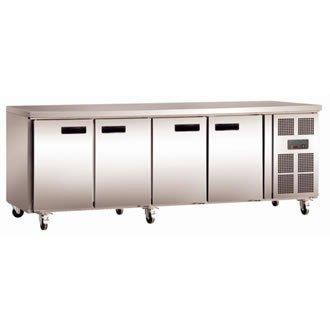 Polar Kühltisch 4-türig 449L (Silber)