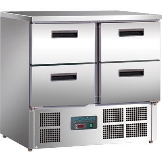 Polar Kühltisch mit 4 Schubladen 240L (Silber)