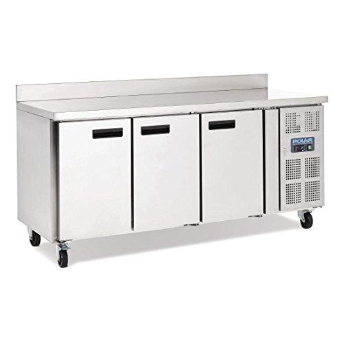 Polar Kühltisch mit Aufkantung 3-türig 417L (Silber)