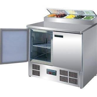 Polar Pizzakühltisch Saladette 2-türig 254L (Silber)