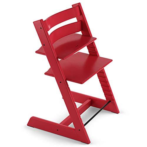 Tripp Trapp - Mitwachsender Baby- und Kinderhochstuhl - Rückt das Baby an den Esstisch und in das Zentrum der Familie - Holzart: Buchenholz - Farbe: Red