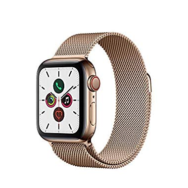 Apple Watch Series 5 (GPS + Cellular, 40 mm) Edelstahlgehäuse Gold - Milanaise Armband Gold