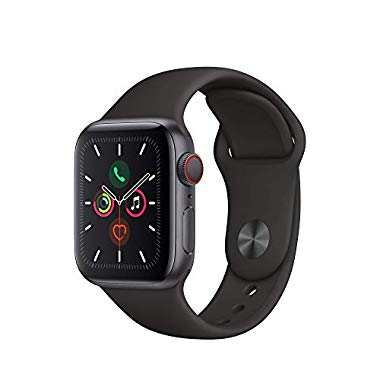 Apple Watch Series 5 (GPS + Cellular, 40 mm) Aluminiumgehäuse Space Grau - Sportarmband Schwarz