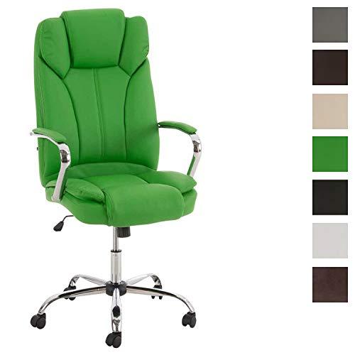 CLP XXL - Bürostuhl XANTHOS mit hochwertiger Polsterung und Kunstlederbezug I Drehbarer und höhenverstellbarer Chefsessel mit Einer Belastbarkeit von 210 kg I erhältlich Grün