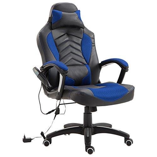 Homcom Bürostuhl Drehstuhl Massagesessel Sportsitz mit Wärmefunktion Büro Blau 68 x 69 x 108-117cm