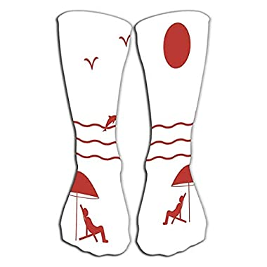 "Kotdeqay Outdoor Sports Men Women High Socks Stocking Nice Picture Holiday sea Sun Seagulls Dolphins Nice Picture Holiday sea Sun Seagulls Dolphins Waves Tile Length 19.7""(50cm)"
