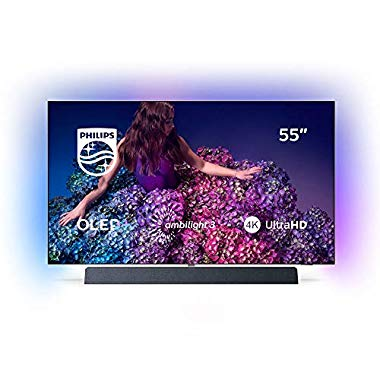 Philips Ambilight 55OLED934/12 139 cm (OLED+ Smart TV (4K UHD, P5 Pro Perfect Picture Engine, HDR 10+, Dolby Vision, Dolby Atmos, Sound von Bowers & Wilkins, Android TV) Chromfarben) (55 Zoll)