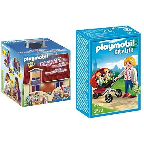 Playmobil 5167 - Mein Neues Mitnehm-Puppenhaus & 5573 -  Zwillingskinderwagen Vergleichen Sie die Preise bei PriceX.de