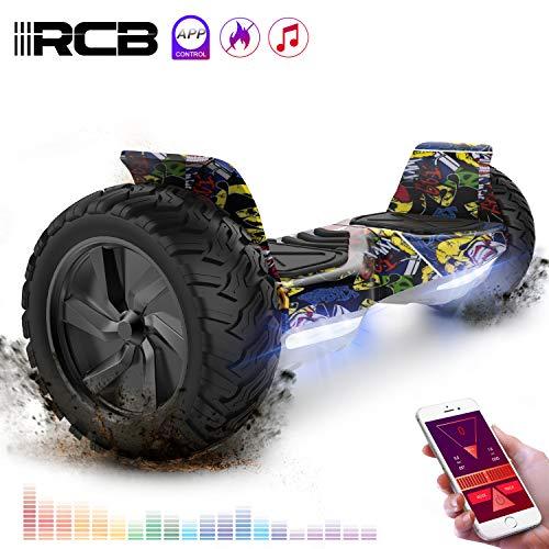 """RCB Hover Scooter Board 8.5"""" Self Balancing Scooter Elektro Scooter E-Skateboard mit Geländewagen für alle Gelände 8.5 """"Hummer Integrierte Bluetooth-APP-LED mit 2 * 350W leistungsstarkem Motor (Hip-hop)"""
