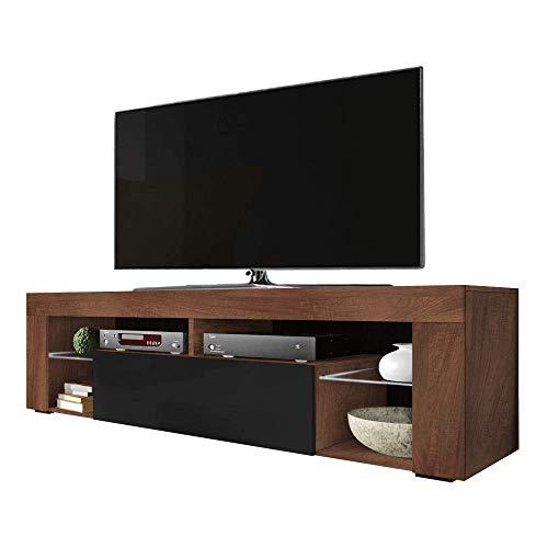 Selsey BIANKO - TV-Lowboard/TV-Schrank in Holz-Optik Nuss Caravaggio mit Klappe in Schwarz Hochglanz Stehend 140cm