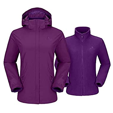 CAMEL CROWN Damen 3-in-1 Skijacke Fleece Jacke Outdoor Wasserdicht Winddicht Warm Atmungsaktiv Winterjacke Wanderjacke mit Kapuze Abnehmbare, Doppeljacke Regenjacke Funktionsjacke Damenjacke (Lila-1)