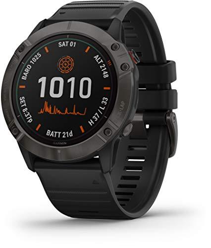 Garmin Fenix 6X Pro Solar GPS Smartwatch, 51mm, Titanium Carbon Gray DLC, 010-02157-20