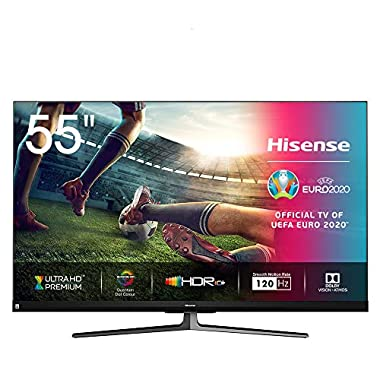 Hisense 55U8QF QLED 139cm (Fernseher (4K ULED HDR Smart TV, Ultra Premium HD, HDR10+, Dolby Vision&Atmos, Full Array Local Dimming, 120Hz Panel, USB-Recording, JBL sound, Alexa Built-in)) (Serie U8QF, 55 Zoll)