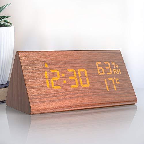 NBPOWER Wecker Digitaler LED Wecker Uhr Holz, Digitalwecker Tischuhr mit Sprachsteuerung/Snooze Funktion/Datum/Temperatur und Luftfeuchtigkeit, für Zuhause, Schlafzimmer, Nacht Kinder und Büro- Braun